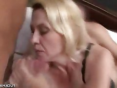 Blowjob, Cumshot, Lingerie, Mature, Threesome