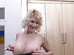Blonde, British, Masturbation, Mature, Stockings